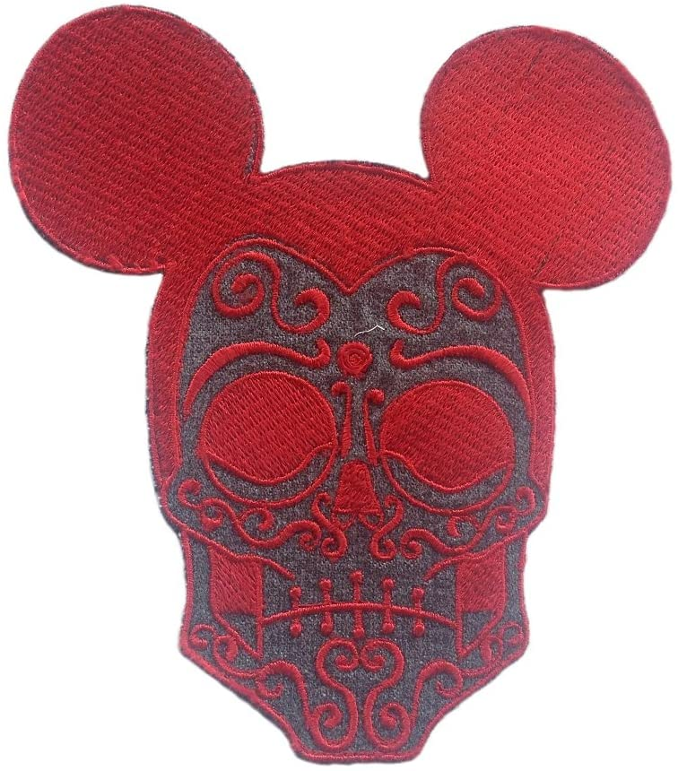 Skull Mickey Mouse Embroidery Pattern Sewing or Iron on Embroidered (Red)