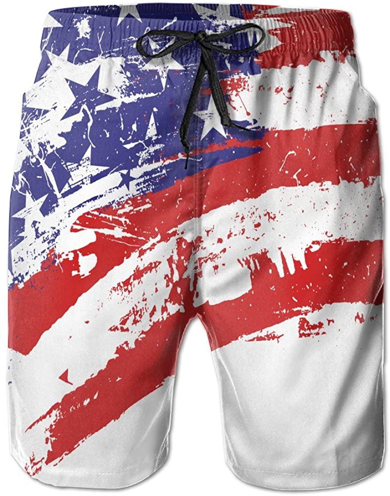 National Flag USA Flag Printing Men's Beach Board Shorts Swimming Trunks