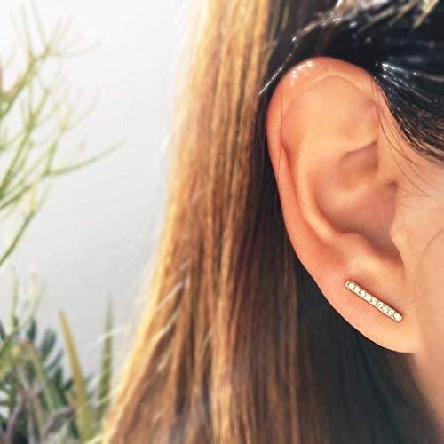 Sparkly Staple Bar Studs- Minimal Gold Earrings/Tiny line Earrings/Minimalist/Modern/Gifts for her/Girlfriend Gift/Best Friend Gift