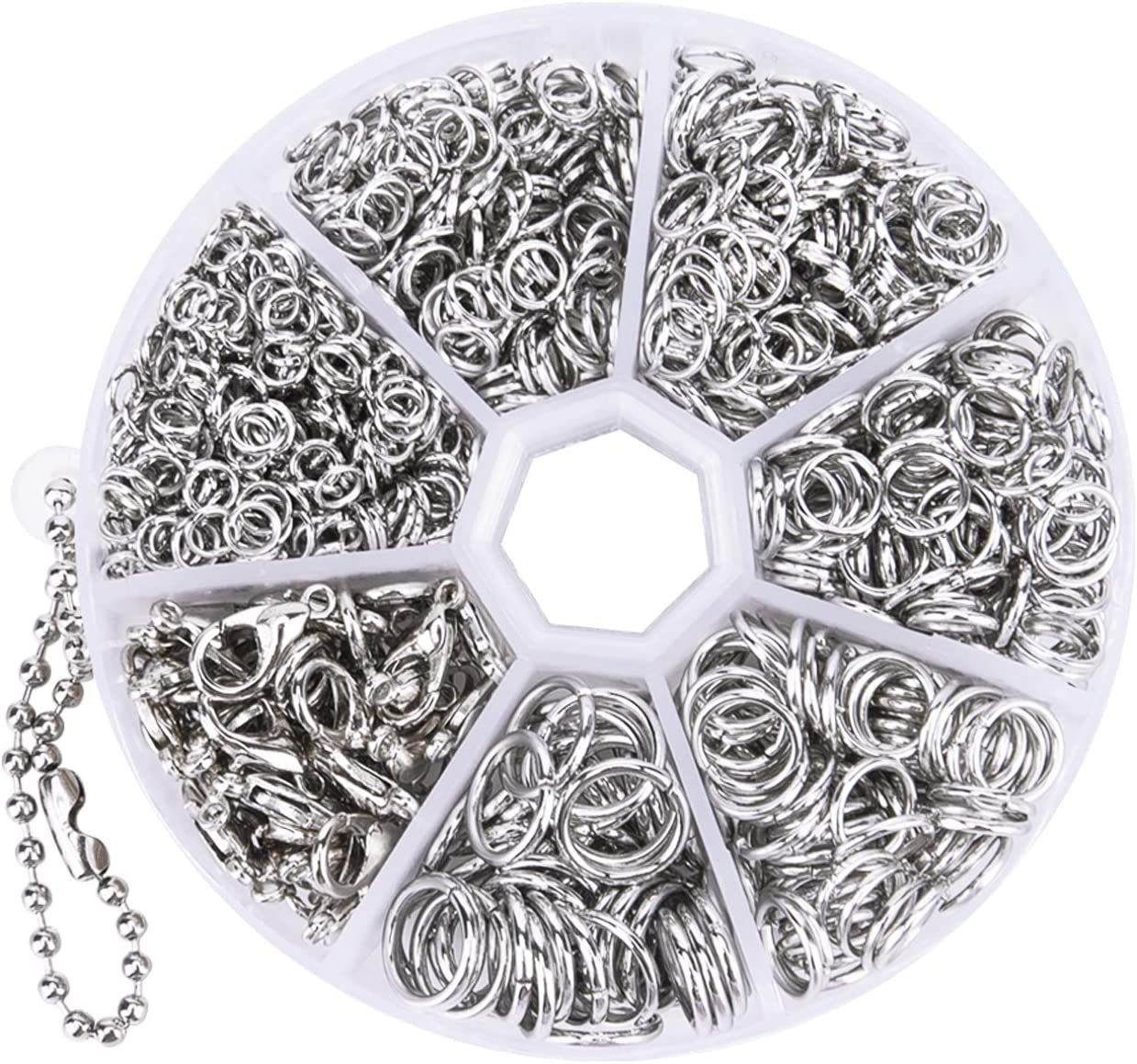 Livder 1210 Pieces Jump Rings with Lobster Clasps for Jewelry Making Finding and Necklace Earring Repair (Silvery)