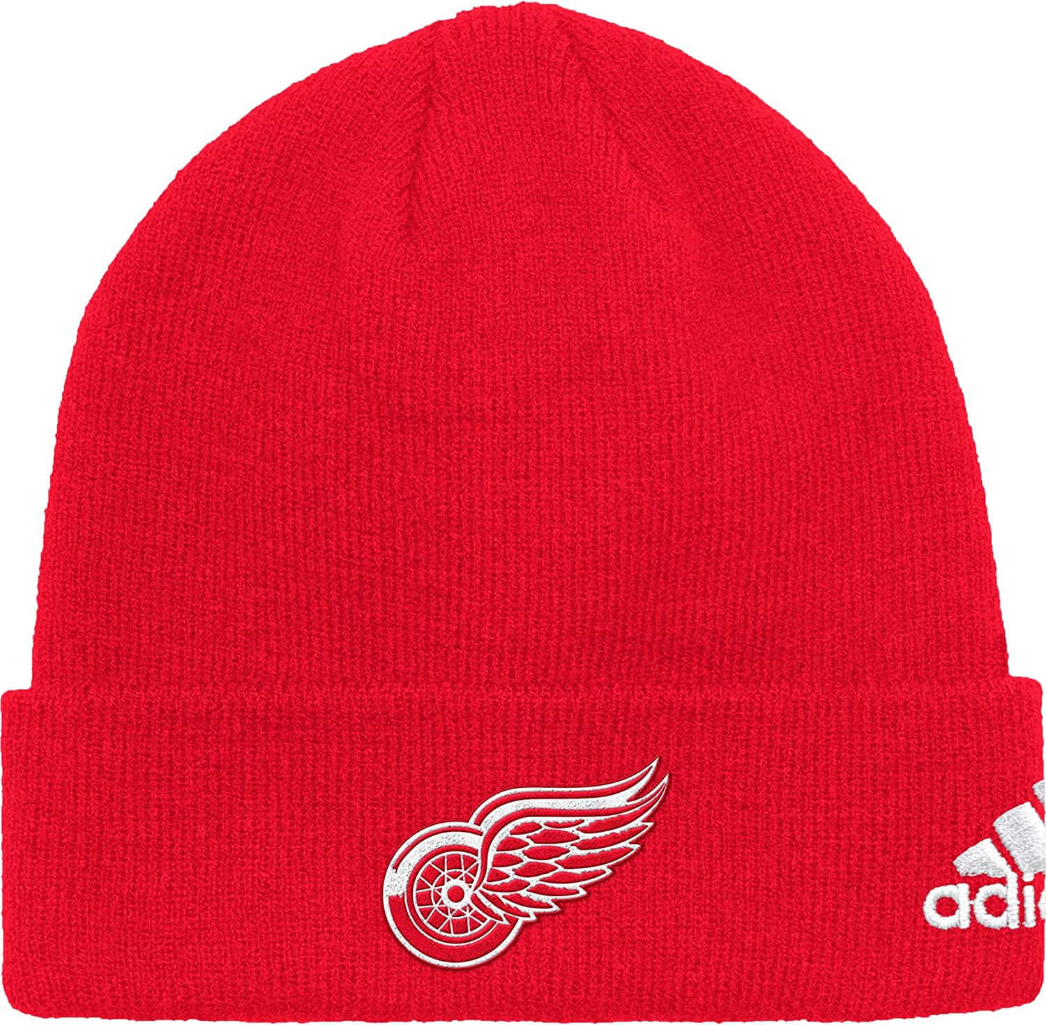 adidas Men's Detroit Red Wings Basic Red Knit Beanie (OneSize)