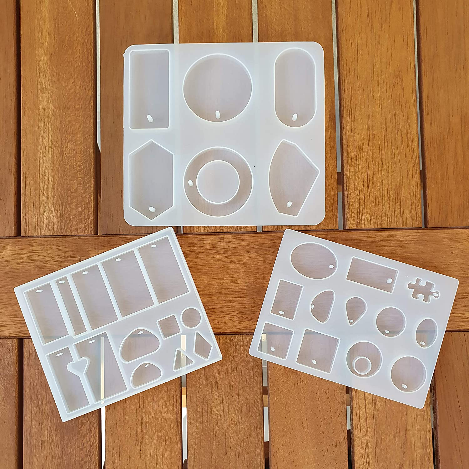 Resin Molds Silicone Jewelry Molds 3Pcs Epoxy Food Grade Silicone - Earrings with Hole Craft Making Rings Jewelry Necklace Brand New Charm Reliable Hanging Soft