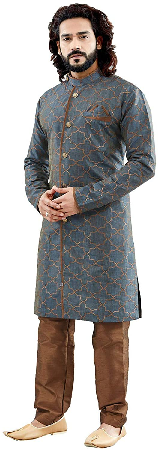 Indian Designer Partywear Traditional Ethnic Grey Mens Indo Western.