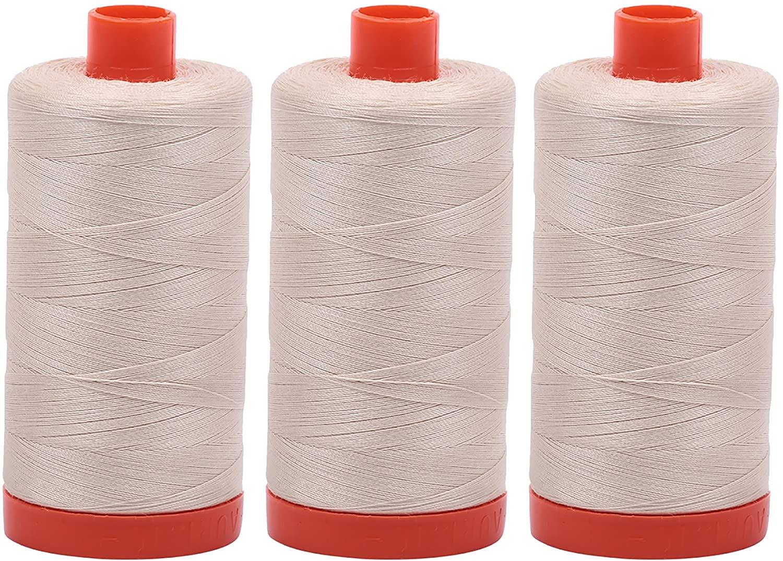 3-PACK - Aurifil Light Beige - A1050-2310 - Mako Cotton Thread Solid 50WT 1422Yds each