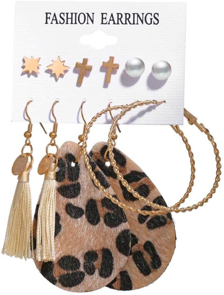 Tassel Earring Set Leopard Pearl Hoop Earrings for Women Girls 6 Piece Set
