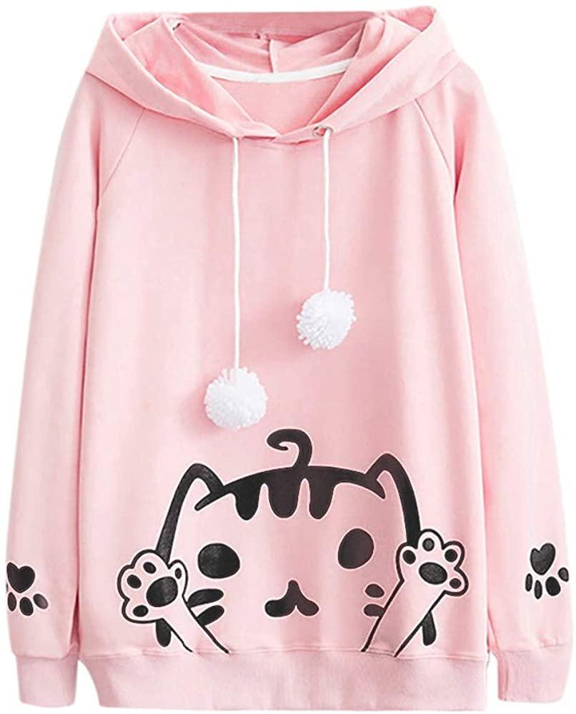 ZEFOTIM Women's Casual Autumn Long Sleeve Hooded Cat Print Hairball Sweatshirt