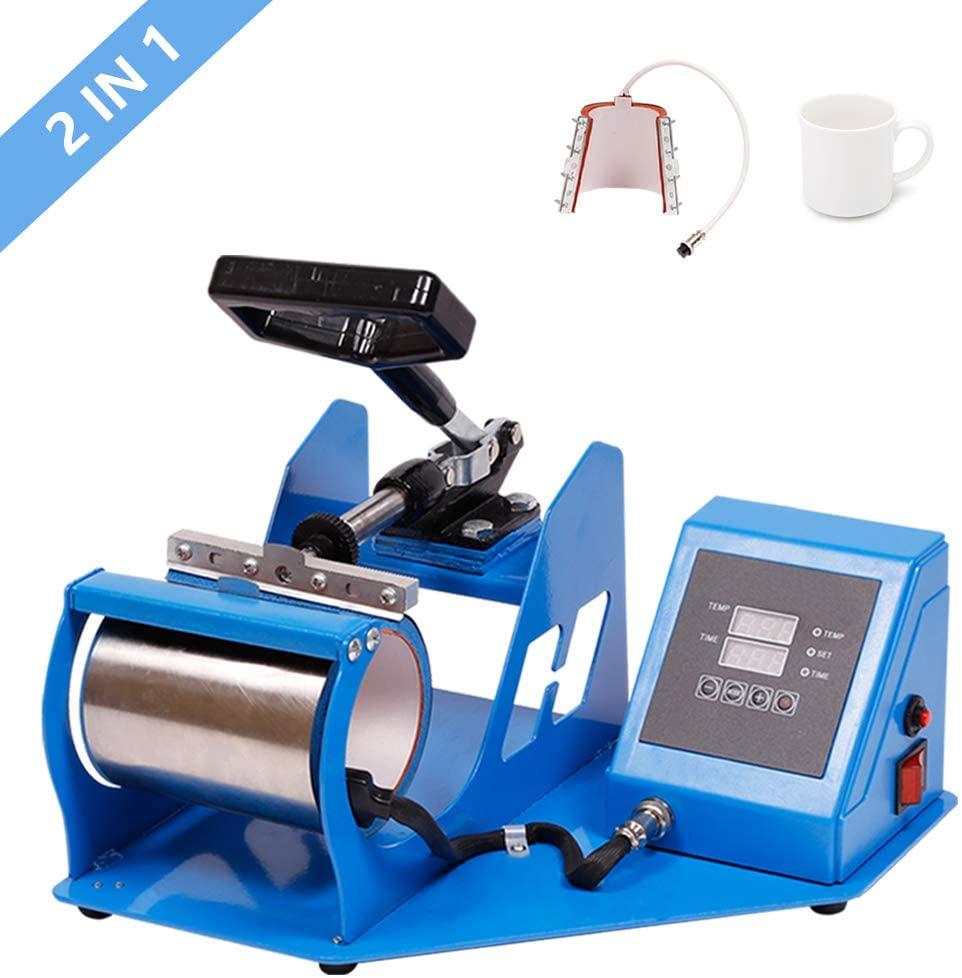2 in 1 Heat Press Transfer Sublimation Machine Dual Digital for Cup Coffee Mug 11oz and 12oz Mug Heat Press Machine/Heat Transfer Machine/Mug Printing Machine DIY Cup(Blue, 33.5)