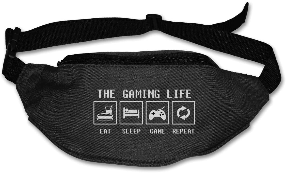 Liuqidong Eat Sleep Game Video Games Waist Pack Bag Fanny Pack for Men&Women Hip Bum Bag with Adjustable Strap for Outdoors Workout Traveling Casual Running Hiking Cycling