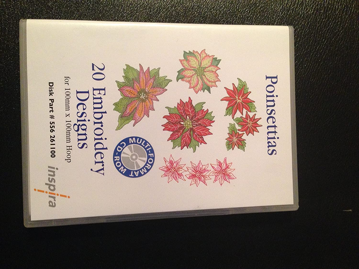 Poinsettias 20 Embroidery Designs Inspira Multi Format CD ROM