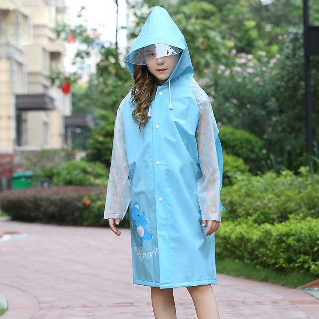 Portable Kids Clear Raincoat - Waterproof Hooded Rain Poncho Jacket - Travel Outdoor Hiking Camping Rain Coat for Baby Girls (XL, Blue)