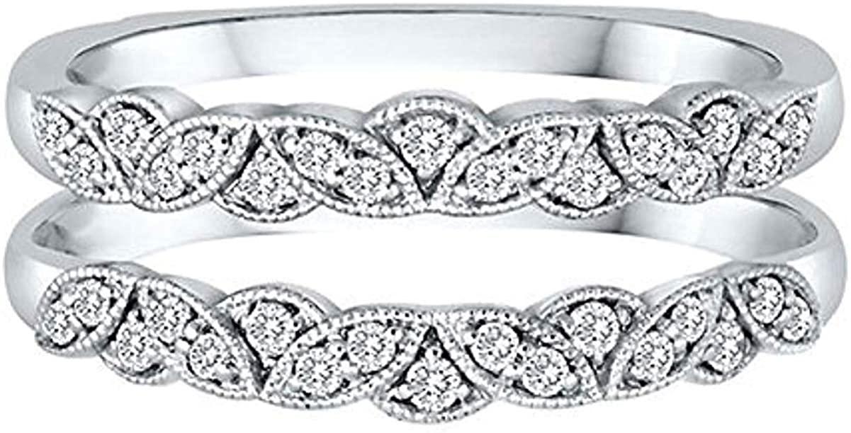 0.45 Ct Round D/Cubic Zirconia Women's Anniversary Wedding Milgrain Enhancer Ring Guard 925 Sterling Silver
