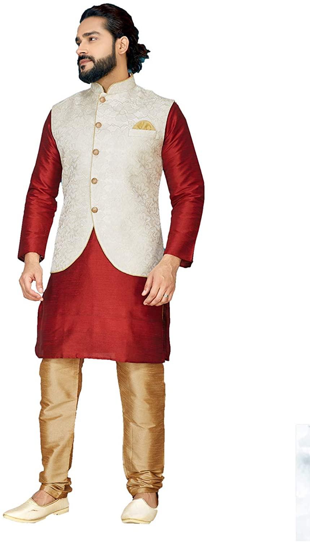 Indian Designer Partywear Traditional Ethnic Red Mens Wear Kurta Pajama.