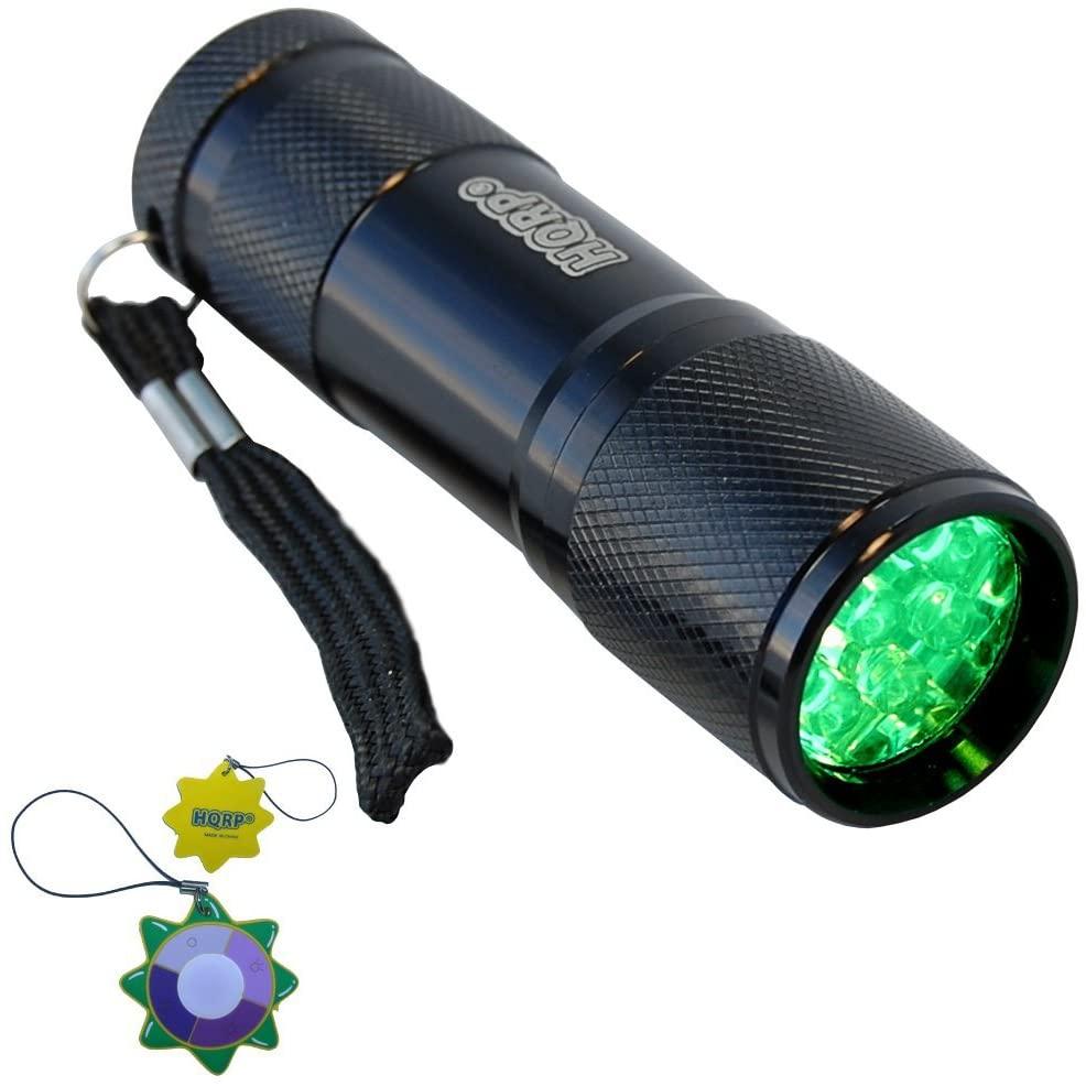 HQRP Pocket Size Powerful Green Light Flashlight with 9 LEDs for Navigation, Night Walking, Fishing plus HQRP Sun Meter