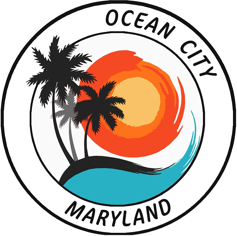 Ocean City, Maryland Tropical Scene Decorative Car Truck Window Sticker Decal Vinyl Die-Cut Badge Emblem Vacation Souvenir Travel Gear Ocean Island Beach
