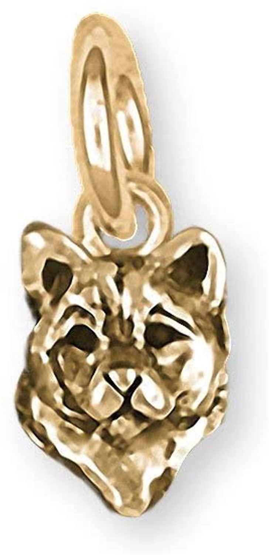 Shiba Inu Jewelry 14k Gold Handmade Shiba Inu Charm SHB1H-CG