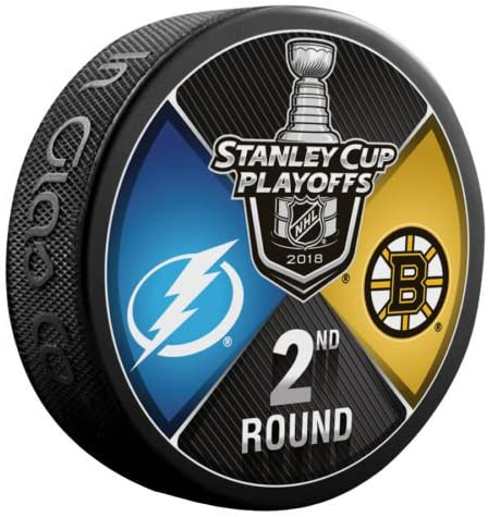 The Hockey Company 2018 Stanley Cup Playoffs 2nd Round Puck Dueling Teams Bruins VS. Lightning 2ND Round Boston Tampa Bay