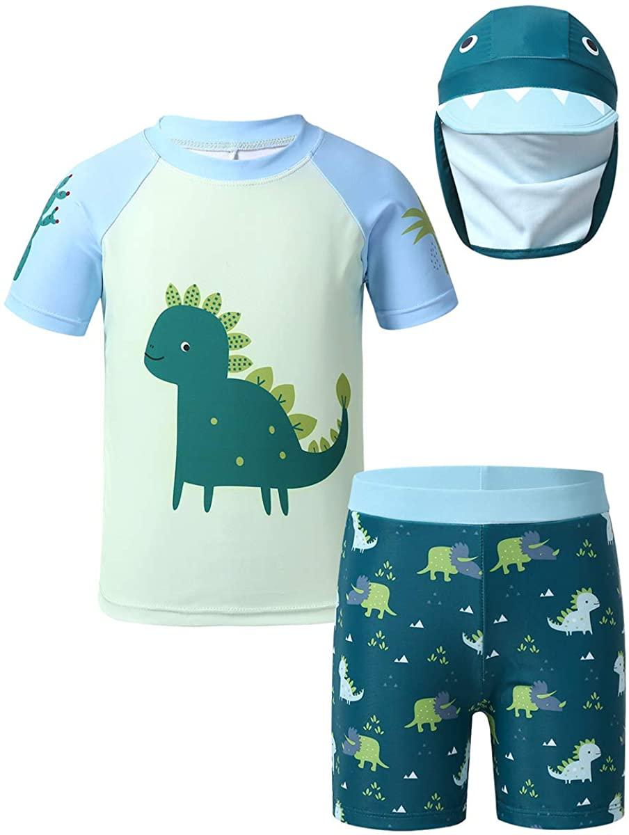 CHICTRY Toddler Boys Short Sleeve Rash Guard Swimsuit Set Cute Cartoon Dinosaur Beachwear Bathing Suit