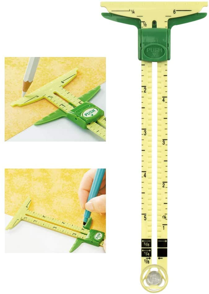 Petift 5-in-1 Plastic Handy Sliding Gauge Measuring Sewing Tool,Quilting Tools,Seam Ruler for Sewing DIY Work as T-Gauge, Hem Gauge, Seam Allowance, Buttonhole Spacer and Circle Compass