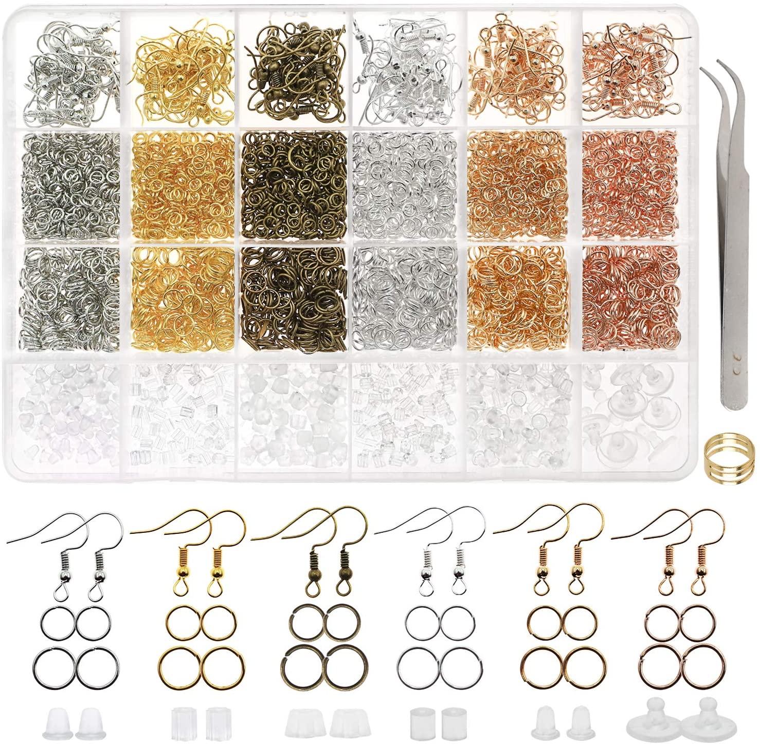 DICOBD 3700pcs Earring Making Supplies Kit with 6 Colors Earring Hooks, Jump Rings, Earring Post Earrings Making and Repairing