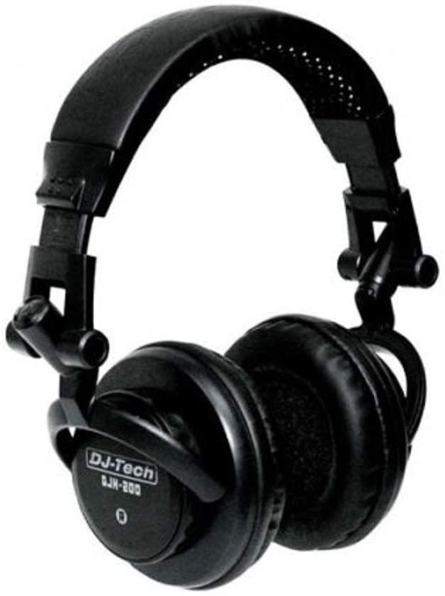 DJ Tech DJH-200 On-Ear Professional DJ Headphone, 18Hz-20kHz Frequency Range, 60 Ohms Impedance, 110dB Sensitivity