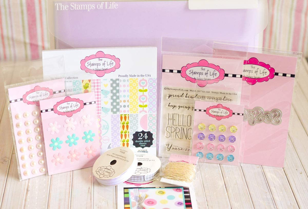 Hello Spring Sentiments Scrapbooking Card Kit by The Stamps of Life