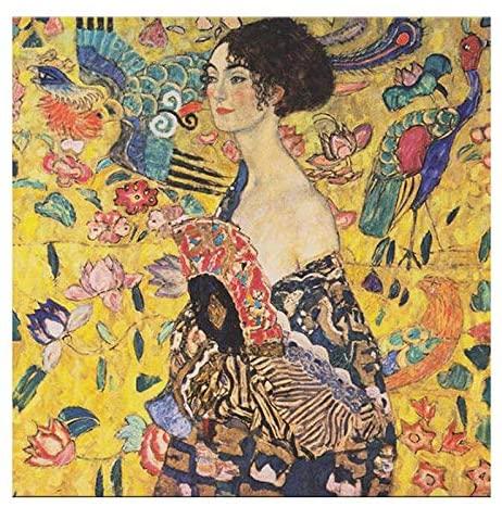 Zimal 5D DIY Diamond Embroidery Gustav Klimt Diamond Painting Cross Stitch Woman Painting Full Round Drill Mosaic 11.8 x 11.8 Inch