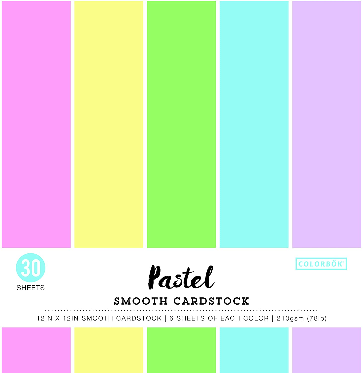 Colorbok Smooth Cardstock Paper Pad, 12 x 12, Pastel