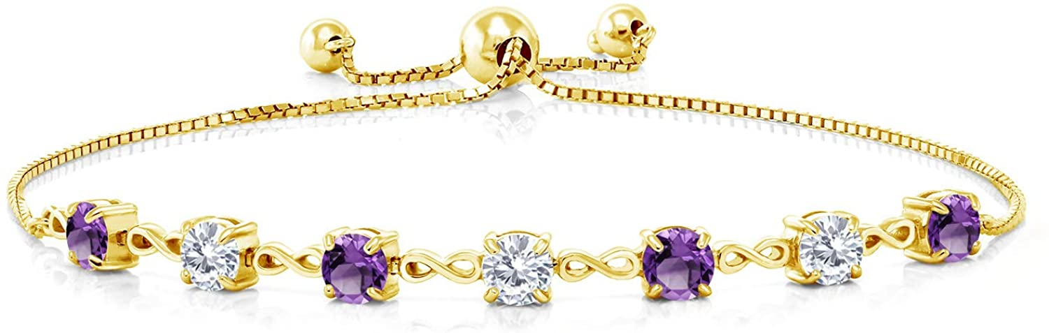 18K Yellow Gold Plated Silver Bracelet Round Purple Amethyst and Forever Classic Created Moissanite 0.99ct (DEW) by Charles & Colvard