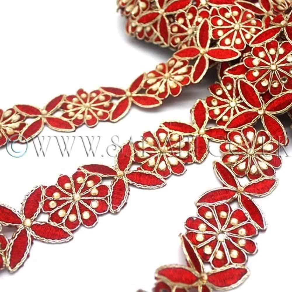 RED Floral Fabric Trim - Sarahi.NYC