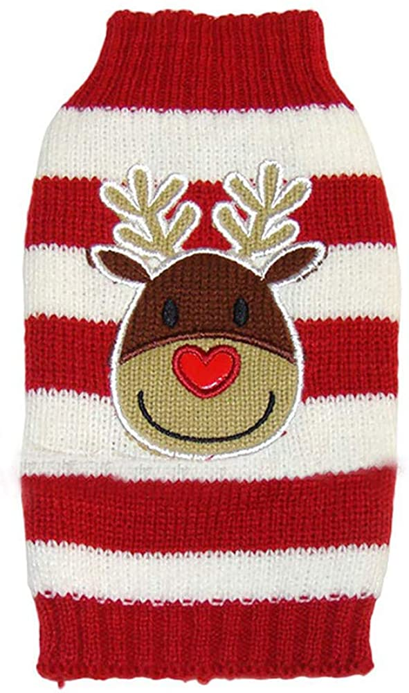 ZLOLIA Xmas Dog Sweater Christmas Dog Cable Knit Pullover Warm Pet Sweaters with Leash Hole