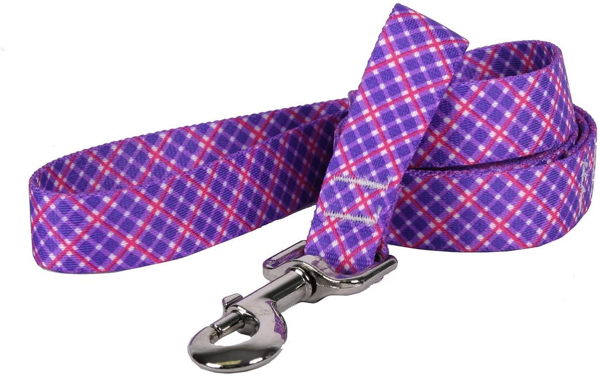 Yellow Dog Design Purple and Pink Diagonal Plaid Dog Leash
