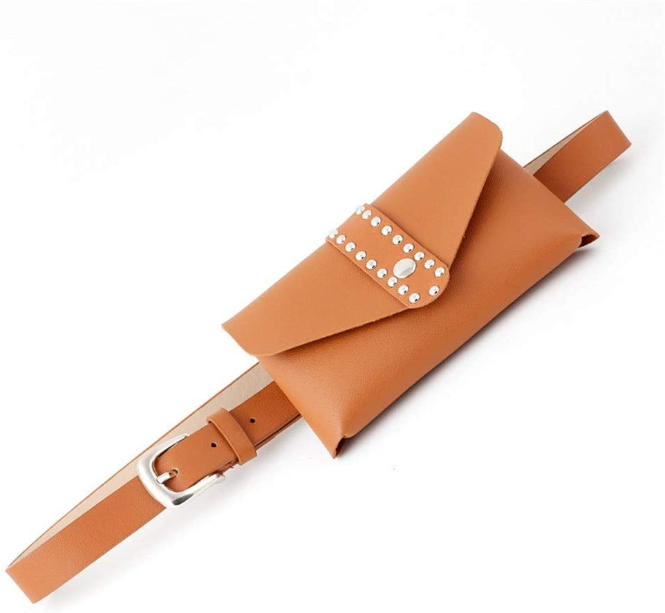 Monkibag-WW Women's Waist Bag Women Mini Belt Bags Metal Rivet Snap Waist Bag PU Leather Fanny Pack Removable Belt with Waist Pouch Travel Sports Bumbag Cell Phone Money Pouch Leather Waist Packs