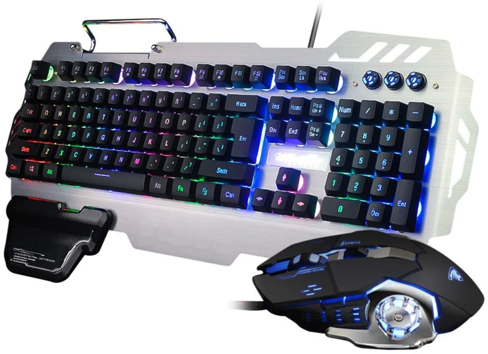 RLIRLI Gaming Mouse and Keyboard Set, Ultra-Thin, All-Metal USB Computer Keyboard with Splash-Proof Design, Mechanical Gaming Keyboard with Full Keys, Backlit Keyboard