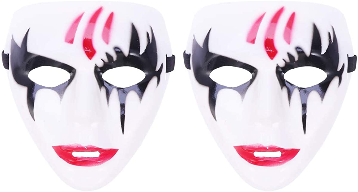 FENICAL 2pcs Halloween Reaper Clown Mask Cosplay Costume Prop Party Accessory Unisex White and Black