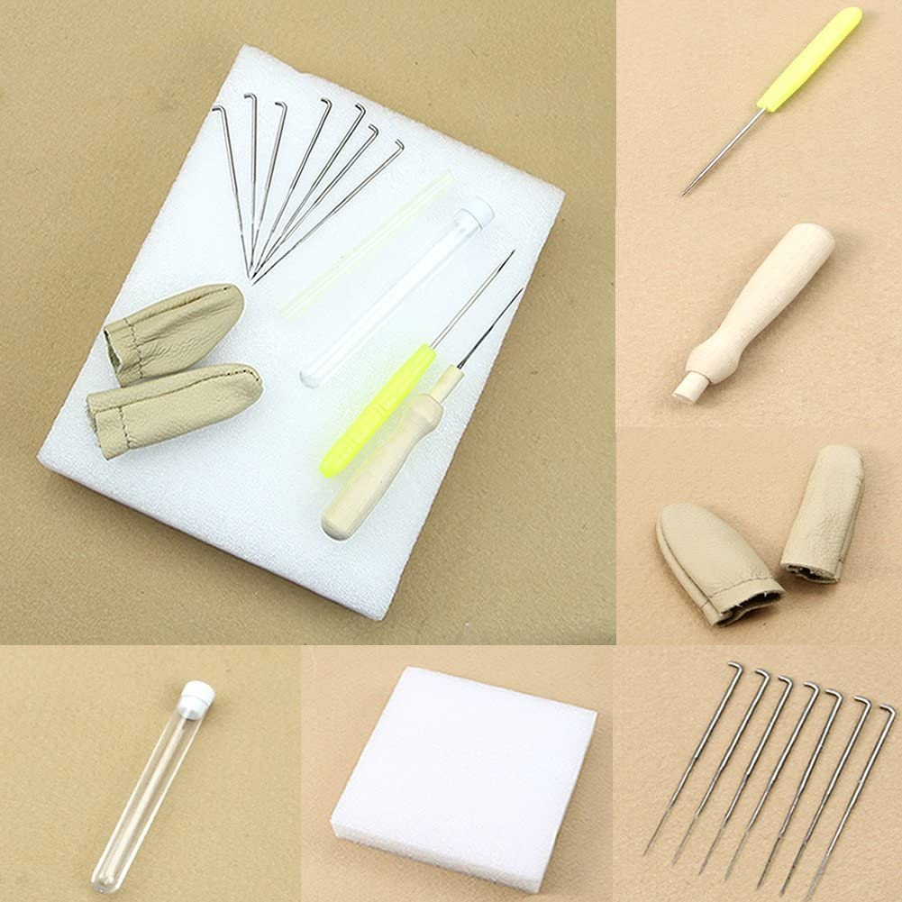Romote Needle Felting Starter Kit Contains A Wool Felt Tools Mat, 9 PCS Needles and Accessories Craft