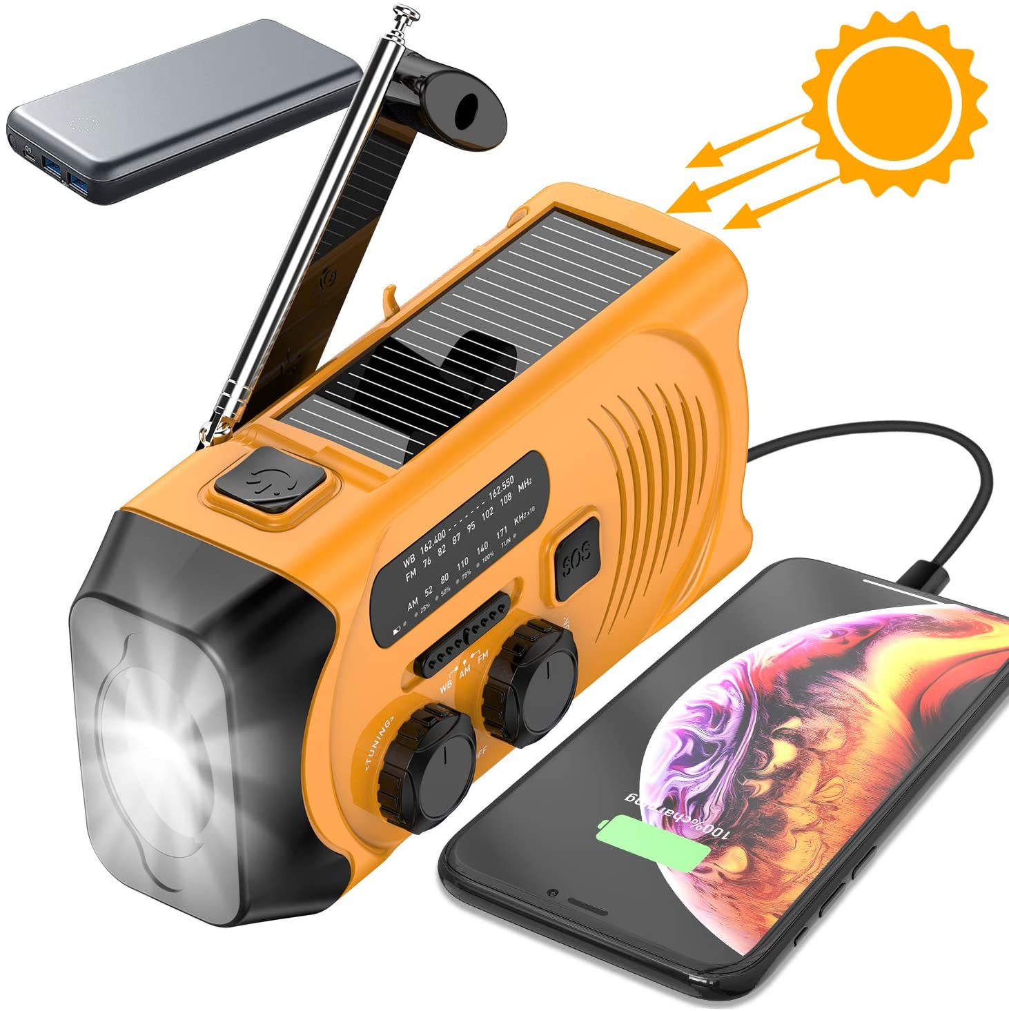 Emergency Weather Radio, RegeMoudal Solar Hand Crank Portable NOAA Weather Radio with AM/FM, LED Flashlight, Reading Lamp, 2000mAh Power Bank USB Charger and SOS Alarm (Orang)