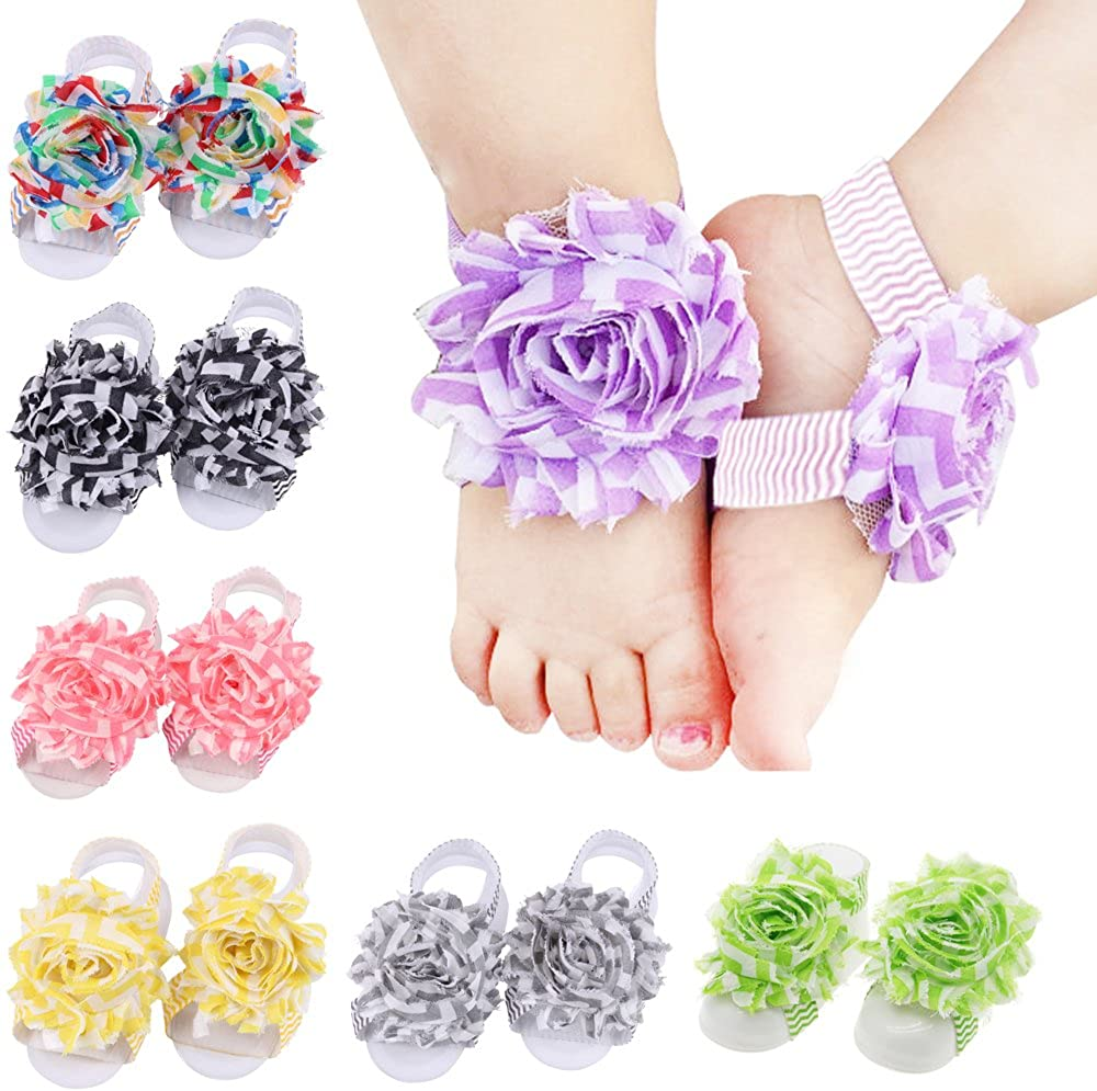 Baby Girl Shabby Flowers Barefoot Sandals Infant Chiffon Foot Flower Feet Accessories