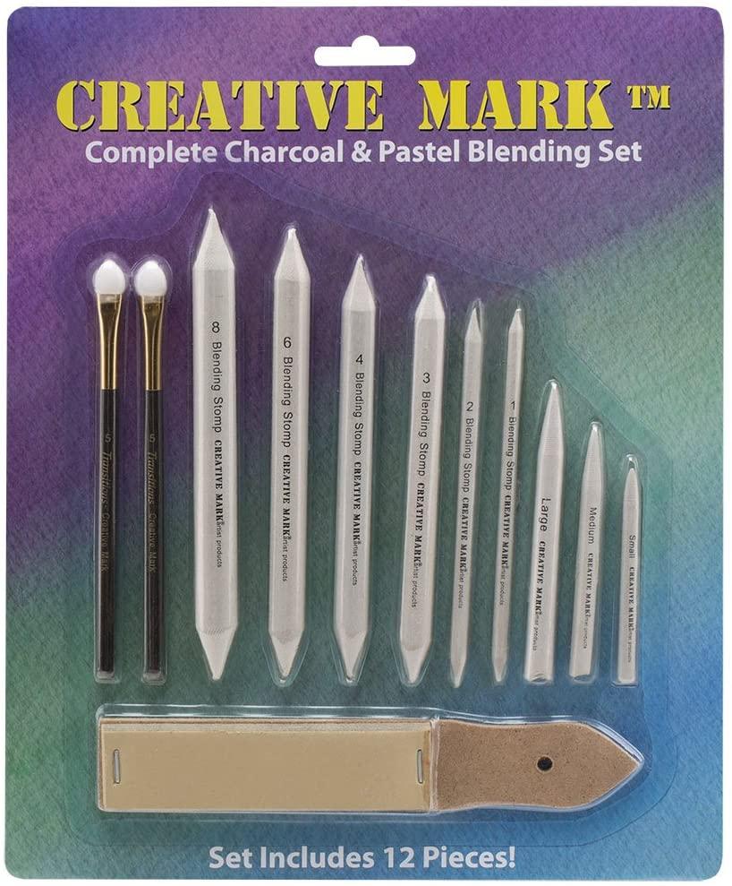 Creative Mark Complete Charcoal and Pastel Blending Set for Drawing Media Charcoal, Pencil, Pastels, Sponge Blenders, Stomps, Tortillions, Sandpaper Pad