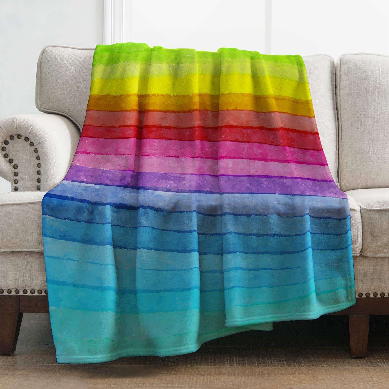 Levens Rainbow Blanket Colorful Soft Warm Print Throw Blanket for Girl Women Kids Gift 50