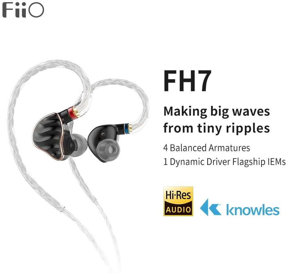 FiiO FH7 5-Drive (1DD + 4BAs) Hybrid in-Ear Earphones/Headphones with DIY Sound Filters,High Fidelity for Smartphones/PC/Tablet (Black)