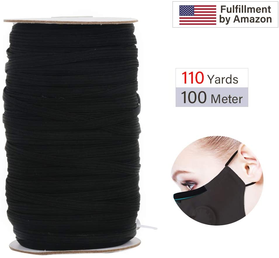 Vegou Elastic Bands for Sewing 1/4 inch,110 Yards Length 0.6mm Width, Braided Knit Elastic Cord, Elastic Rope, Bungee for Sewing Crafts