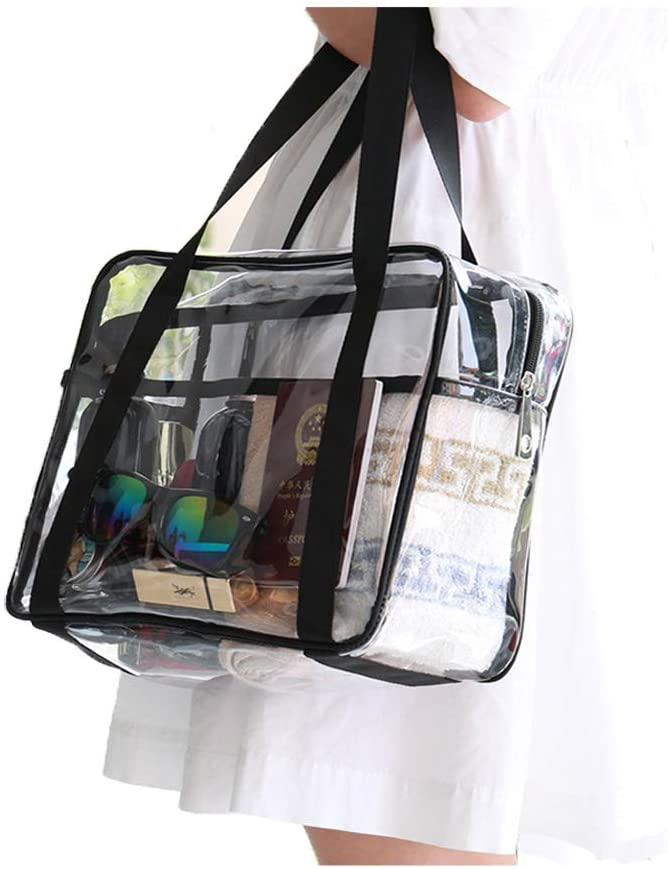 KOFULL Clear Bag,Clear Tote Bag with Zipper Closure,Waterproof and High Capacity Perfect for Work, Sports Games,Travel