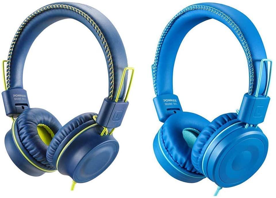 POWMEE Bundle M2&M1 Kids Headphones Wired Headphone for Kids,Foldable Adjustable Stereo Tangle-Free,3.5MM Jack Wire Cord On-Ear Headphone for Children/Teens/Girls/School/Kindle/Airplane/Plane/