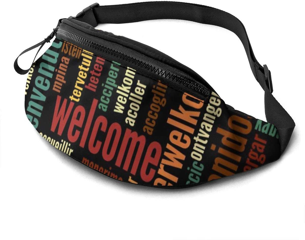 Welcome in Various Languages Fanny Pack for Men Women Waist Pack Bag with Headphone Jack and Zipper Pockets Adjustable Straps