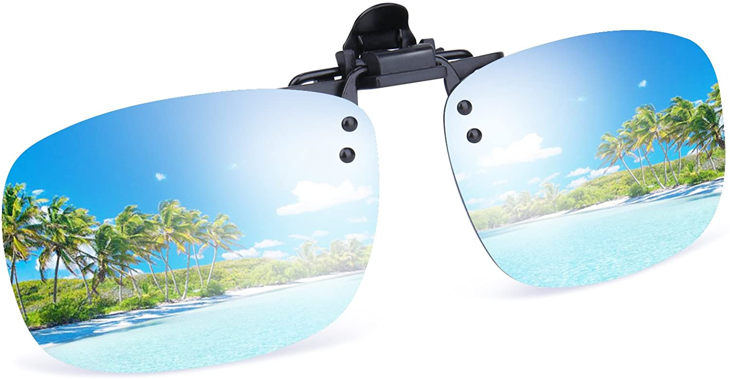 Besgoods Cool Silver Mirror Polarized Clip-on Flip up Sunglasses Plastic Lenses Glasses Outdoor Driving Fishing Sport