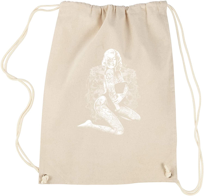 Expression Tees Skull Pose Marilyn Monroe Cotton Drawstring Backpack