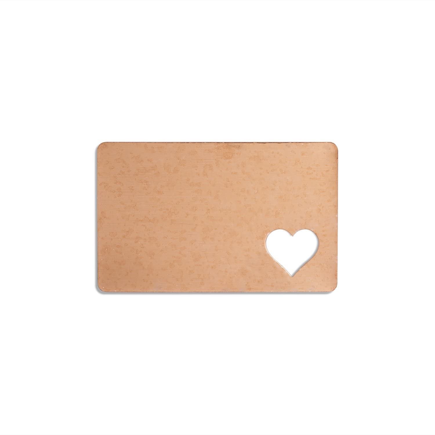 RMP Stamping Blanks, 2-1/8 Inch x 3-3/8 Inch Rectangle Wallet Card with 0.691 Inch x 3/4 Inch Heart, 16 Oz. Copper 0.021 Inch (24 Ga.) - 3 Pack