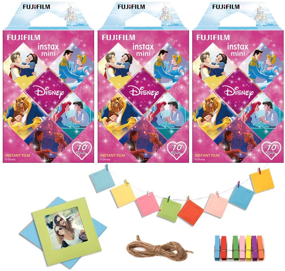 Fujifilm Instax Mini Disney Princess Instant Film (30 Exposures) with Hang Tags, Pins and Backgrounds