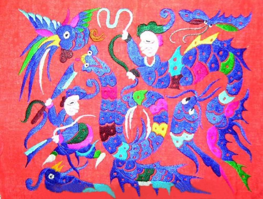 Interact China Chinese Embroidery Textile Art 100% Hand Stitch Ethnic Hmong Miao Artwork #217