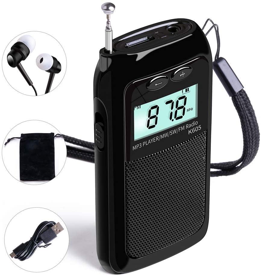 LCJ Portable Pocket Stereo Digital FM MW Shortwave Radio and MP3 Player with Alarm Clock